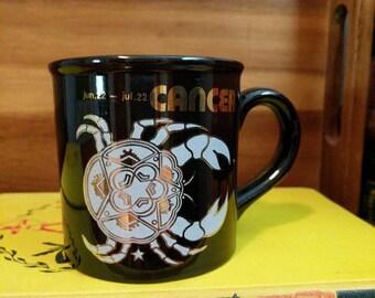 Vintage Cancer Crab Astrology Black and Gold Mug