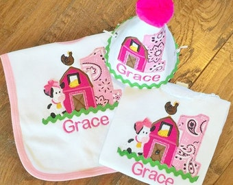 Farm Themed Birthday Set Includes Tee, Bib and Hat