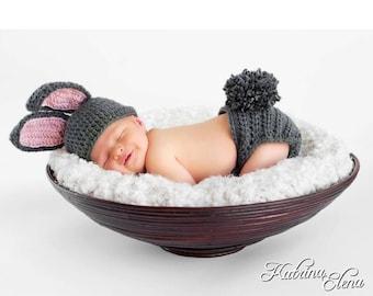 Baby Bunny Hat and  Diaper Cover /Baby Boy Prop/ Baby Girl Prop/Baby Shower Gift/ Easter Newborn Prop/ Spring Baby Prop