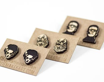 Laser Etched and Hand Painted Horror Movie Monsters Stud Earrings