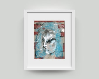 Art portrait 10/8 inch (25.4/20.3 cm) painting, abstract