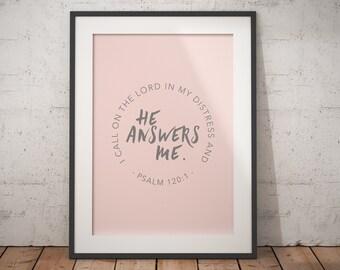 Psalm 120:1 - Pastel Bible Print - Digital Download