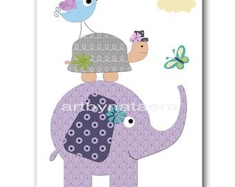 Elephant Nursery Turtle Nursery Kids Wall Art Baby Nursery Decor Baby Boy Nursery Kids Art Baby Room Decor Nursery Prints Birds Violet