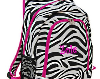 Personalized Zebra Backpack - Girls Canvas Booksack Zebra with Hot Pink Trim Monogrammed FREE