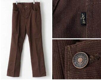 Vintage Levi's Pants Big E Polyester 30.5 x 30.25 Sta Prest Pant - Retro 70's 30.5 Waist 30.25 Inseam Brown