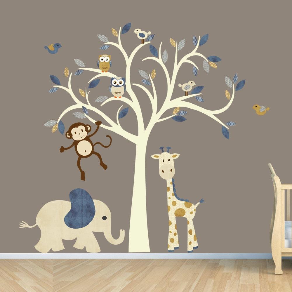 Cream Tree Decal Denim Color Boy Room Wall Jungle