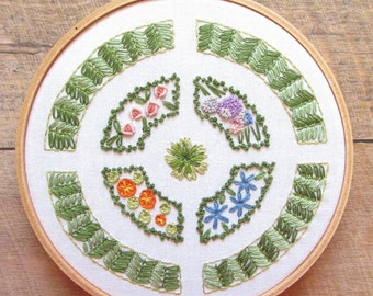 English Knot Garden Floral Embroidery Pattern - Hand Embroidery PDF Hoop Art