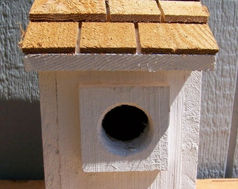 1 white bluebird houses nest with cedar shake roof handmade by Cedarnest free shipping
