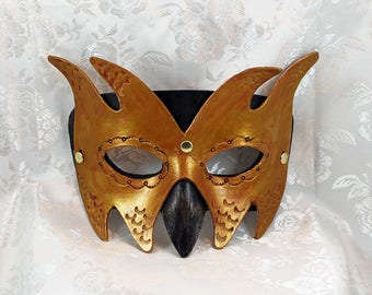 Black Bronze Leather Goblin Mask, Black Bronze Gold Leather Imp Goblin Masquerade Mask Renaissance Fair Leather Mask