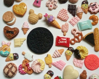 Miniature sweet desserts cabochons lot