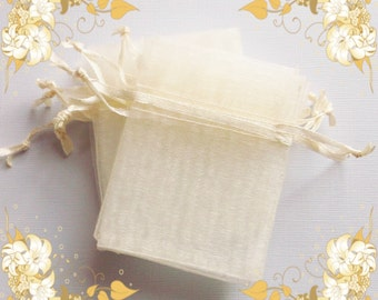 25 Organza Bags ( 2.5 x 3 in ) .. Ivory Organza Bags, Ivory Jewelry Bags, Ivory Drawstring Bags, Ivory Wedding Favor Bags