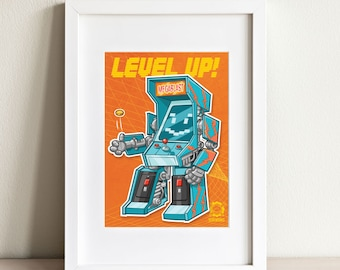 Level Up postcard- video games- Arcade cabinet- robot- transformers- mech- post card- gifts for gamers- greeting card- achievement unlocked