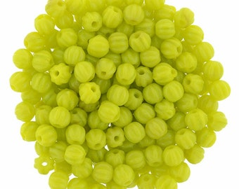 Chartreuse 3 mm Melon Beads (100)
