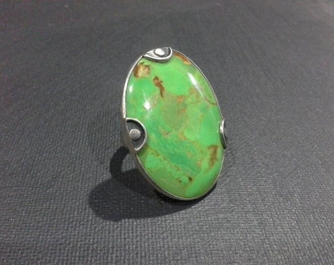 Huge Modernist Green Turquoise Cabochon & Sterling Silver 925 Ring Size 7.5 Vintage