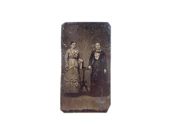 Vintage Tintype Photo of Women with Books / Victorian Era Tintype Photograph