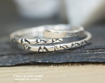 Duo or Solo - rings - Sterling Silver (950 ‰) rings, hammered and stamped. Unique, entirely handmade jewelry - jewelry-mb-creations.
