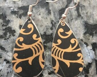Black and gold earrings- lightweight earrings- upcycled tin earrings
