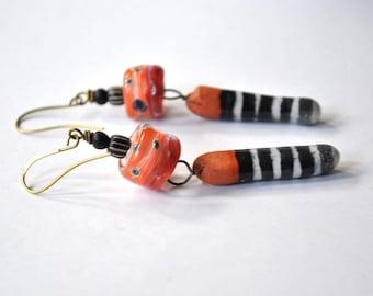 Long Striped Earrings, Dagger Earrings, Lampwork Glass Bead Earrings, Ceramic Bead Earrings, Terra Cotta Red Earrings, Black White Earrings