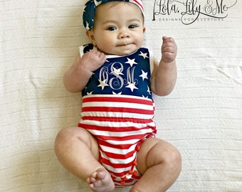 Patriotic Romper - Fourth of July, Baby Romper, Memorial Day, Labor Day, Pom Pom Romper, Red White and Blue Romper, Personalized 4th of July