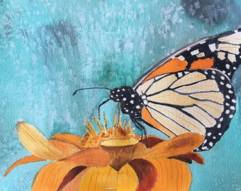 Monarch Butterfly Painting, Butterfly Art, Butterfly Wings Watercolor Painting, Original Modern Fine Art, HOME Decor, Office Decor