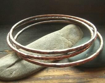Copper Bangle Trio