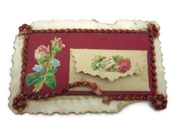Antique Valentine Card and Envelope - Victorian Ephemera Scrap