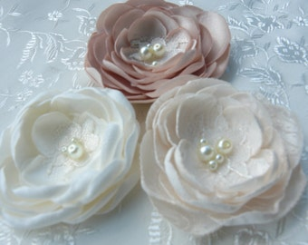 Ivory Champagne Bridal Flower Brooch OR Hair Clip Bridal Flower Hair Clip with Pearls Crystals Champagne Hair Accessories