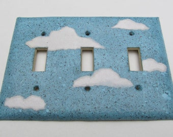 Decorative Cloud Light Switch Plates-Recycled Handmade Paper