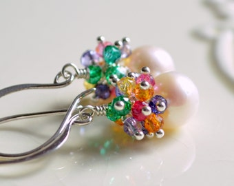 Real Pearl Earrings, Gemstone Clusters, Bright Quartz Stones, Sterling Silver, Wedding Jewelry - Sprinkles - Free Shipping