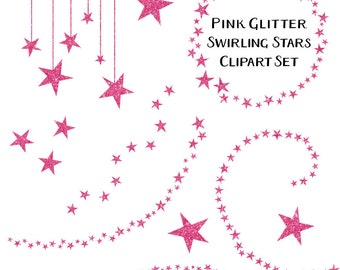Pink Glitter Star Clip Art, Commercial Use, Pink Star Clipart