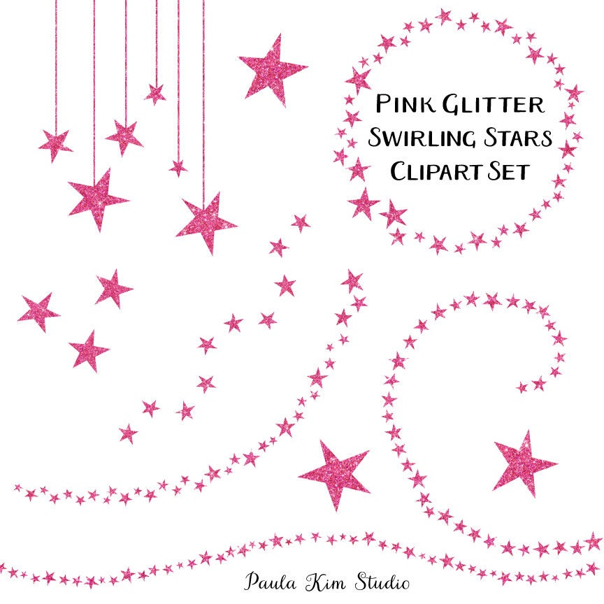 Pink Glitter Star Clip Art Commercial Use Pink Star Clipart