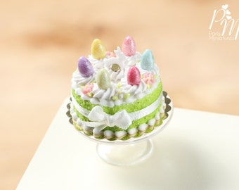MTO-Easter Cake with Colourful Eggs and Rabbit - Spring Green - Miniature Food in 12th Scale for Dollhouse