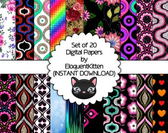 20 Digital Girly Patterns 019 - INSTANT DOWNLOAD