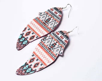 Feather earrings - real glitter and leather, aztec and flower pattern, sparkly luxury and bling