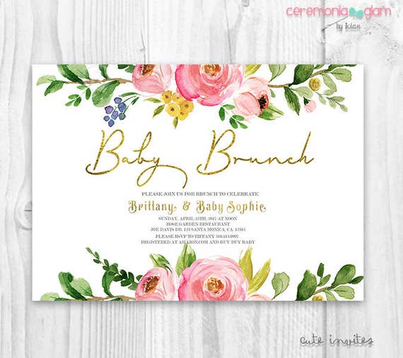 Floral brunch baby Shower Invitation baby shower Invitation