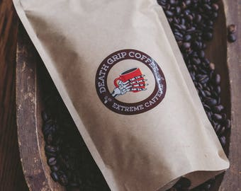Death Grip Coffee Roasted to Be Super Caffeinated Strong Honduras Coffee Extra Energy 12 oz Coffee Bag