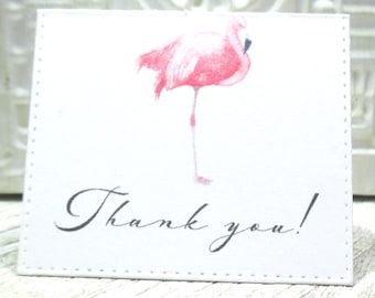 Pink Flamingo mini thank you notes - Set of 20 - Trending - Folded - Embossed edge - Order enclosure card - Business - 2 X 2.25 inches