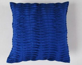 Royal blue pleated cushion cover. Decorative Throw  pillow cover. Cobalt blue pintuck cushion accent pillows  CUSTOM MADE.
