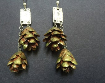 Pinecone Earrings with silver findings