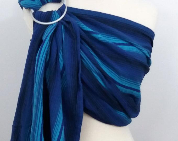 Girasol wrap conversion ring sling- Aqua azul sombre  - WCRS, pale blue, royal blue, turquoise, black
