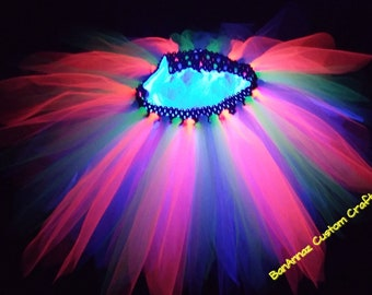 BanAnnaz Custom Crafts, glow in the dark tutu, glowing rave tutu, glow party tutu, luminescent tutu, black light tutu, 80's tutu, skate part