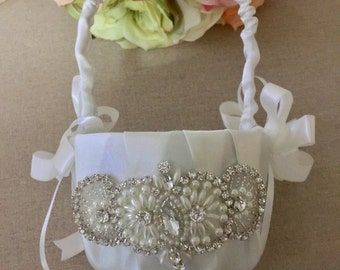 Flower Girl Basket - Rhinestone Flower Girl Basket - Wedding Basket - Satin Flower Girl Basket