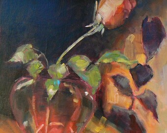 "Flower Painting ,Floral Still Life, Floral Painting,  Rose Painting, 8x8"" OOAK, ""Me and My Shadow"", Free Shipping in US"