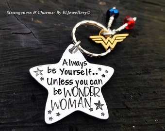 Hand Stamped 'Always be Yourself' Large Aluminium Star Keyring, Feminist, Strong Woman, Star Keyring,Stamped Metal Keyring,Stamped Keychain.