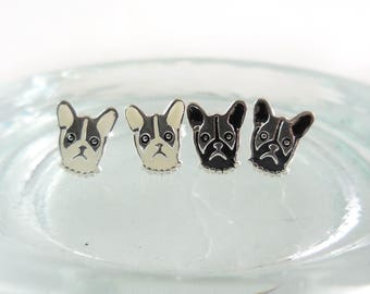 925 Sterling Silver French Bulldog Earrings, French Bulldog Stud, Boston Terrier Earrings, French Bulldog Jewelry, Gifts, French Bulldog