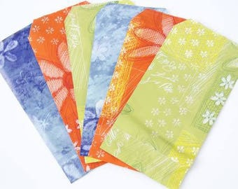 13cm x 7cm paper gift pouches - orange green blue