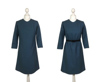 Blue 60's Shift Dress | 1960's Vintage Dress UK 8 10 | Blue Denim Colour Long Sleeve Mod Dress