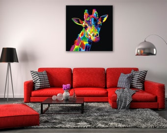 Rainbow Giraffe - Animal Canvas Print Wall Art / Stretched or Rolled / Available in 1, 3, and 5 Panel Versions
