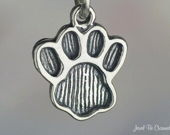 Sterling Silver Paw Print Charm Pawprint for Dog or Cat Paws Solid 925
