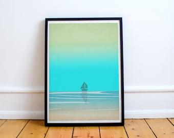Beach Art Print, Bathroom Decor, Coastal Decor, Ocean Art, Sea Art, Blue Wall Art, Teal Art, Ocean Decor, Cottage Decor, Nautical Decor